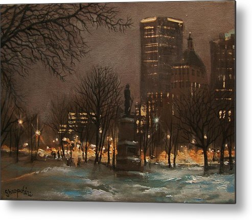 City At Night Metal Print featuring the painting Juneau Park Milwaukee by Tom Shropshire