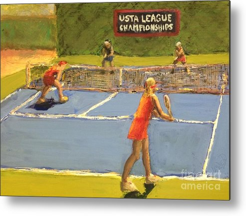 Tennis Metal Print featuring the painting Just Before Noon by Leslie Dobbins
