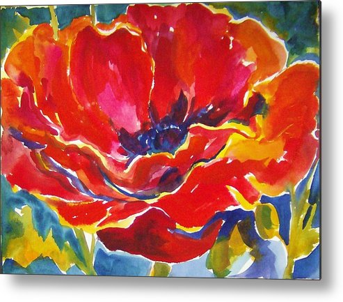 Poppys Metal Print featuring the painting Just One Poppy Sold by Therese Fowler-Bailey
