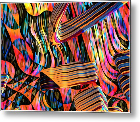 Abstract Art; Digital Art; 3-d Rendering Metal Print featuring the digital art kaleido Calligraph 10x11m3n27m5aa by Terry Anderson