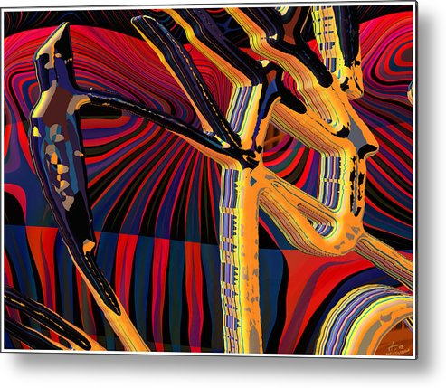 Digital Art; Abstract Art; Bryce 3-d Metal Print featuring the digital art Kali-fa-callig10x11m8 by Terry Anderson