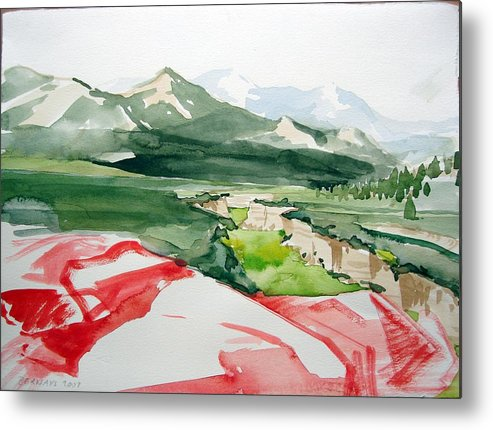 High Desert Landscape River Blue Mountains Outdoors Rural Wildlife Red Green Trees Rocks Nature Metal Print featuring the painting Kennedy Meadows by Amy Bernays