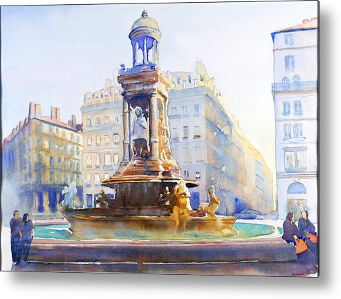Europ Metal Print featuring the painting La Fontaine Des Jacobins by Joel Tenzin