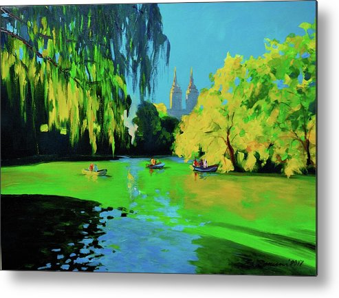 Lake In Central Park Metal Print featuring the painting Lake In Central Park Ny by Eduard Zenuni