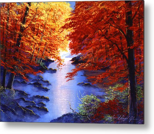 Landscape Metal Print featuring the painting Lake Mist In Autumn by David Lloyd Glover