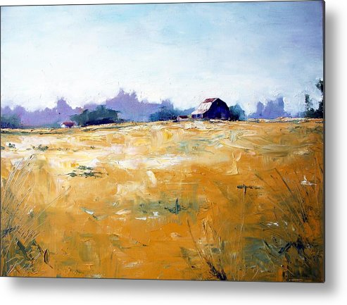 Art Metal Print featuring the painting Landscape With Barn by RB McGrath