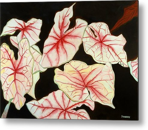 Leaves Metal Print featuring the painting Leaves by Sunhee Kim Jung
