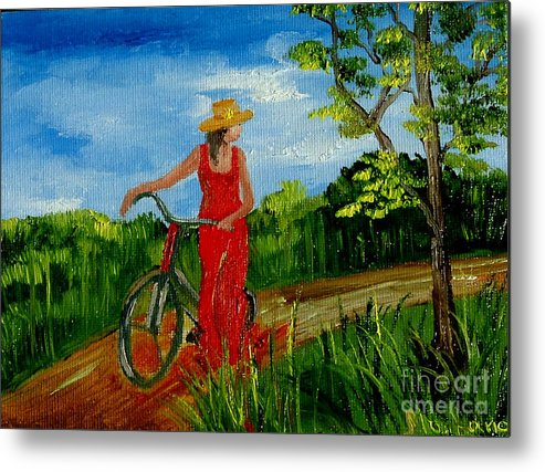 Girl Metal Print featuring the painting Ledy With The Bike by Inna Montano