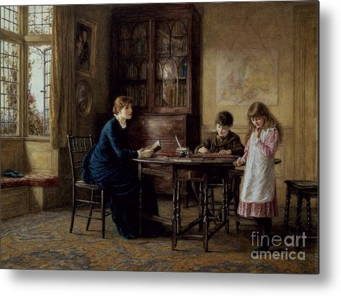 Governess; Inkwell; Quill Pen; Leaded Windows; Schoolroom; Classroom; Teacher; Book Case; Victorian; Lessons Metal Print featuring the painting Lessons by Helen Allingham