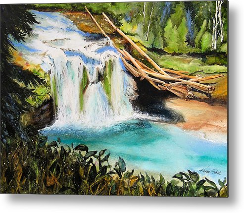 Water Metal Print featuring the painting Lewis River Falls by Karen Stark