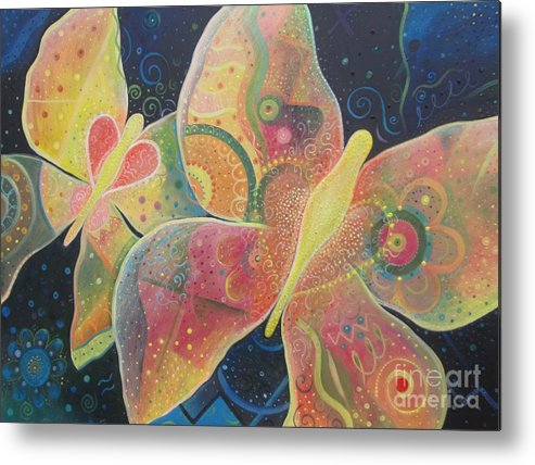 Butterfly Metal Print featuring the painting Lighthearted by Helena Tiainen