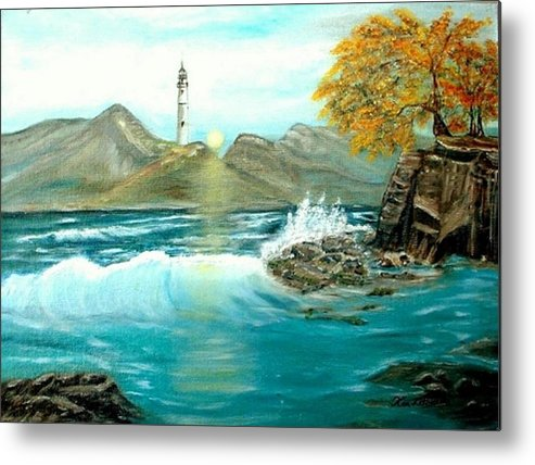 Lighthouse Ocean Painting Rocks Trees Metal Print featuring the painting Lighthouse by Kenneth LePoidevin