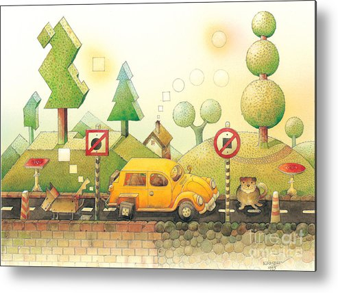 Car Dog Cat Tree Sun Landscape Green Yellow Metal Print featuring the painting Lisas Journey02 by Kestutis Kasparavicius