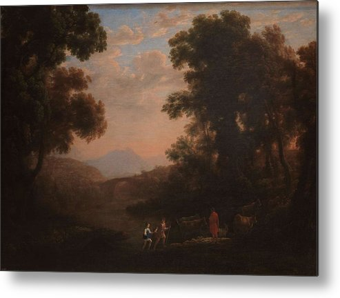 Nature Metal Print featuring the painting Lorena, Claudio De Chamagne, 1600 - Roma, 1682 Ford Of A River Ca. 1636 by LORENA CLAUDIO DE Chamagne