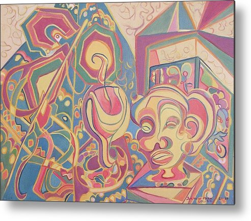 Abstract Metal Print featuring the painting Loving Colors by Suzanne Marie Leclair