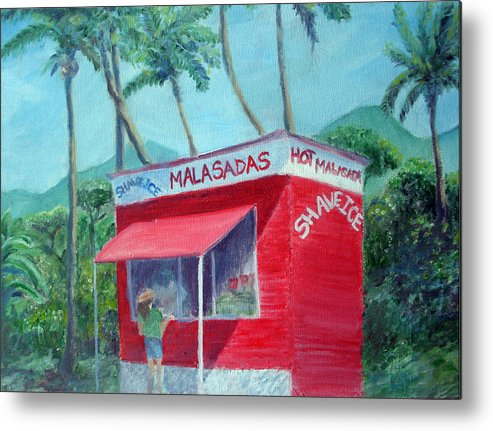 Malasada Stand Metal Print featuring the painting Malasada Stand by Mike Segura