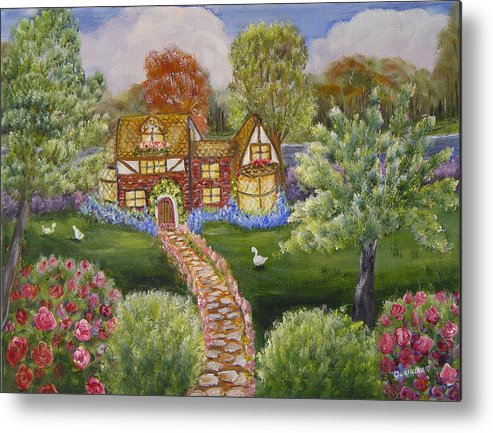 Landscape Metal Print featuring the painting Manor Of Yore by Quwatha Valentine