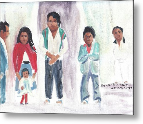 Mexico Metal Print featuring the painting Mexican Church People by Suzanne Marie Leclair
