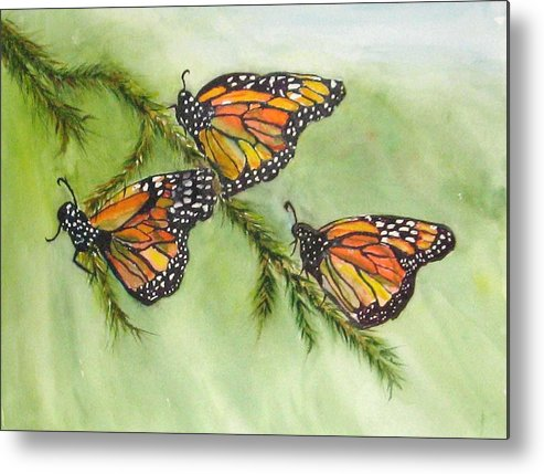Butterflies Monarch Metal Print featuring the painting Monarch Migration by Barbara Littenberg