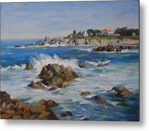 Landscape Metal Print featuring the painting Monterey Bay by Kelvin Lei