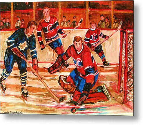 Montreal Forum Hockey Metal Print featuring the painting Montreal Forum Hockey Game by Carole Spandau
