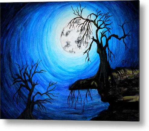 Moon Metal Print featuring the painting Moon Lit by Patty Vanberkom