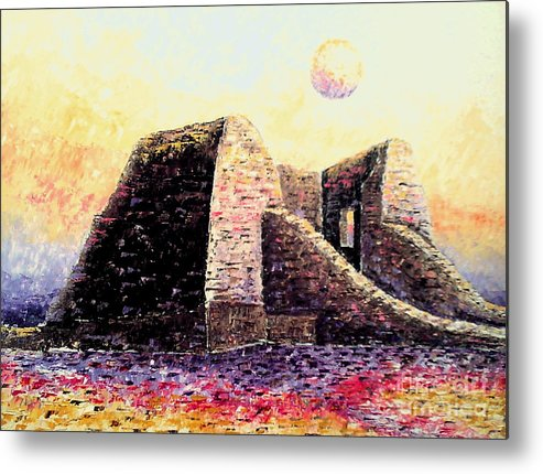Impessionism Metal Print featuring the painting Moonrise by Santiago Chavez