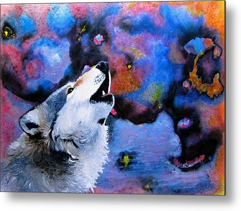 Wolves Metal Print featuring the painting Moonsong by Liz Borkhuis