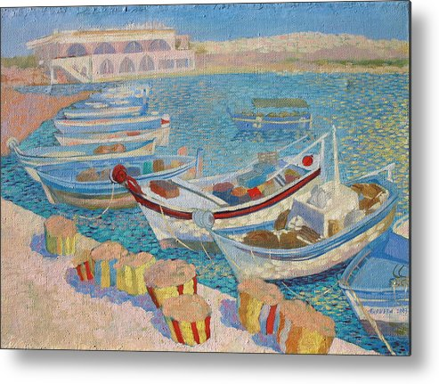 Seascape Metal Print featuring the painting Morning On Cyprus .2003 by Natalia Piacheva