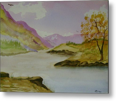 Mountains Metal Print featuring the painting Mountain River by Dottie Briggs
