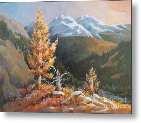 Landscape Metal Print featuring the painting Mt. Rainier 5 by Marta Styk