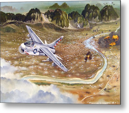 Aviation Metal Print featuring the painting Mu Gia Mayhem by Marc Stewart