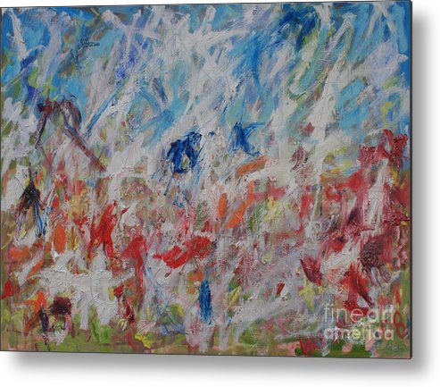 Abstract Metal Print featuring the painting My Garden In Venice by Michael Henderson