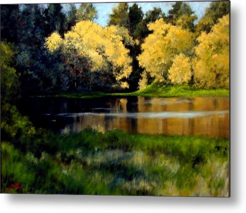 Landscape Metal Print featuring the painting Nature Walk by Jim Gola