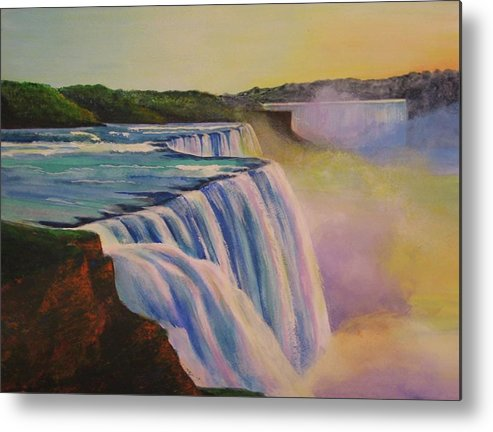 Niagara Falls Metal Print featuring the painting Niagara Sunset by CB Woodling