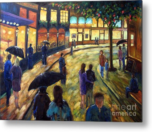 Cityscape Metal Print featuring the painting Night On The Town by Richard T Pranke