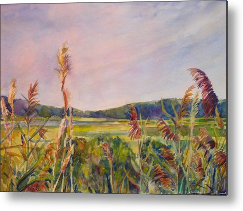 Landscape Metal Print featuring the painting North Fork by Joyce Kanyuk