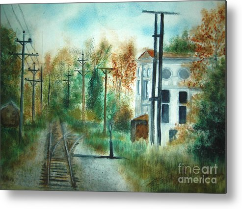 Landscape Metal Print featuring the painting Old Cn Station Fort Langley Bc by Vivian Mosley