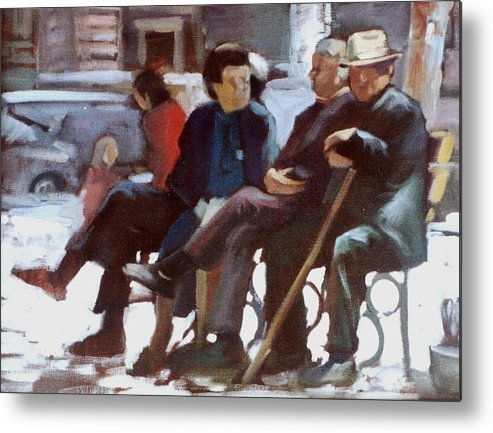 Old People.people Sitting.old People Sitting.pension People .third Age People Metal Print featuring the painting Old People by George Siaba