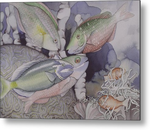 Sea Metal Print featuring the painting On The Reef by Liduine Bekman