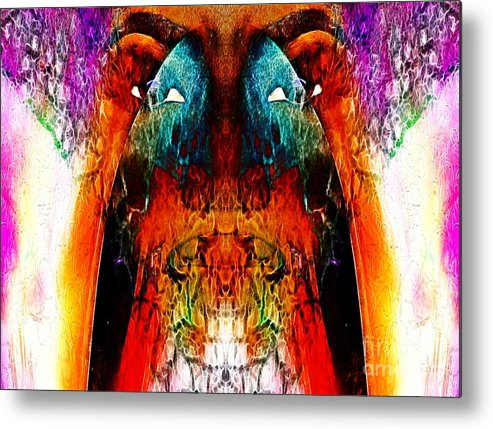 African Female Abstract Female Abstract Metal Print featuring the digital art Oni 1 by Devalyn Marshall
