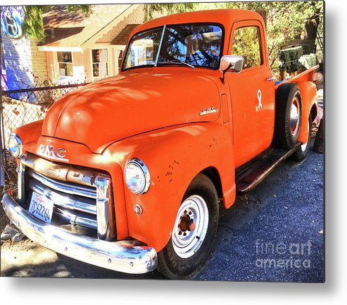 Orange Metal Print featuring the photograph Orange Gmc Pickup Truck In Idyllwild by John Castell
