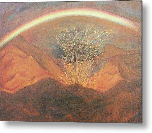Rainbow Metal Print featuring the painting Out Of Darkness by Suzanne Marie Leclair