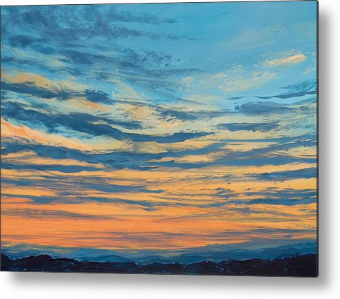 Sunset Metal Print featuring the painting Over The Hills by Pete Maier