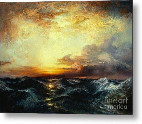 Thomas Moran Metal Print featuring the painting Pacific Sunset by Thomas Moran