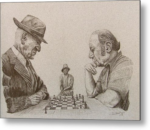 Chess Metal Print featuring the drawing Park Bench by Dan Hausel