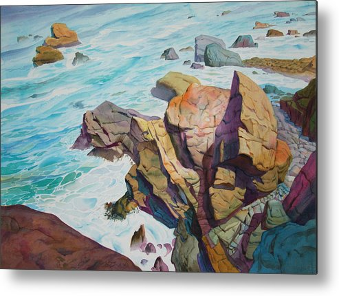 Watercolor Metal Print featuring the painting Patricks Point by John Norman Stewart