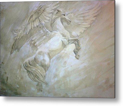 Pegasus Metal Print featuring the painting Pegasus by Helena Brnadic
