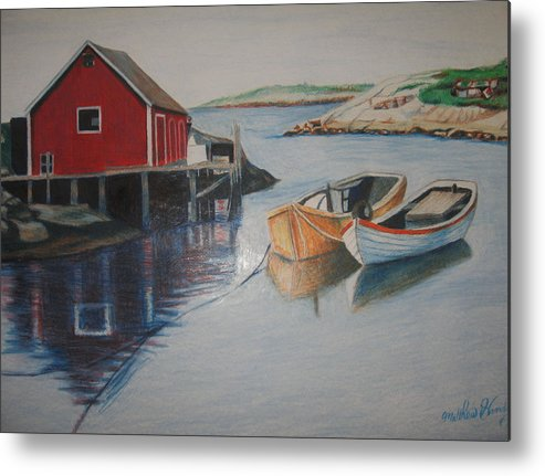 Seascape Metal Print featuring the drawing Peggys Cove by Matthew Handy