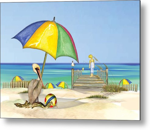 Pelican Metal Print featuring the painting Pelican Under Umbrella by Anne Beverley-Stamps